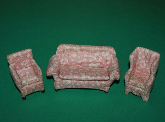 Vintage Dolls House Westacre Lounge Suite Sofa by kittymacminis
