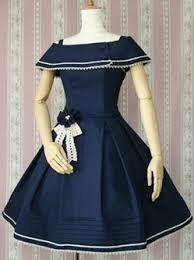 Navy blue colored lolita dress