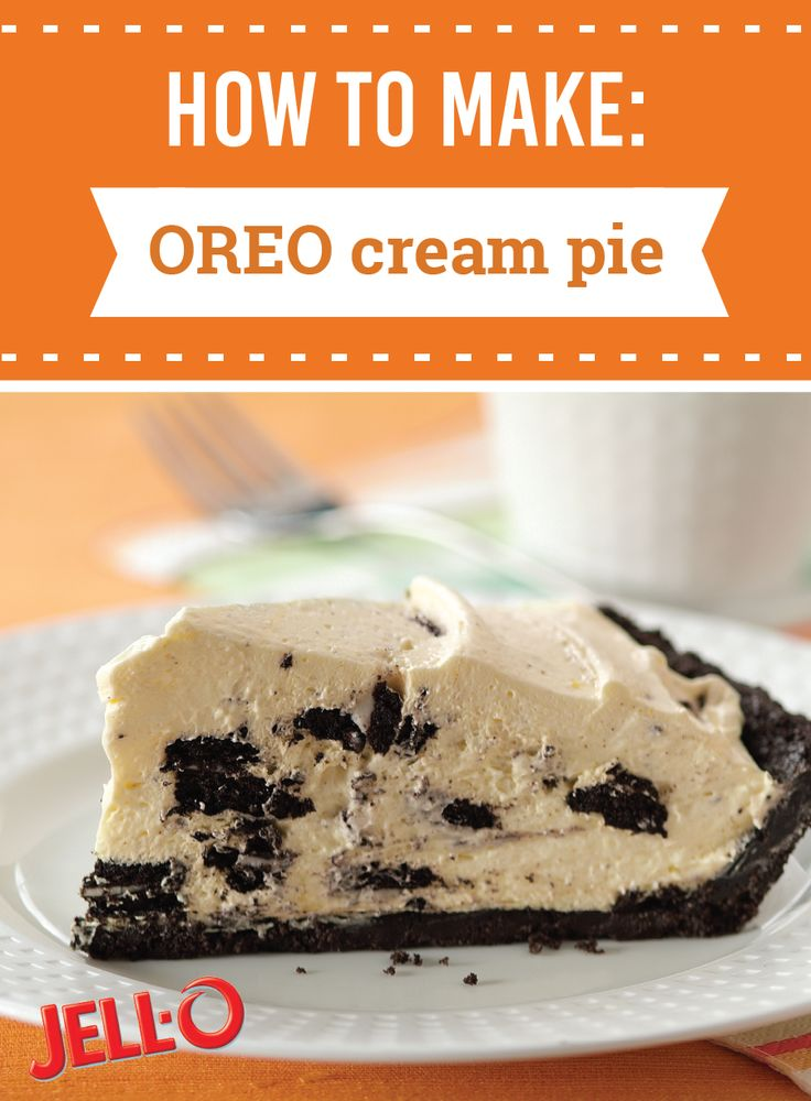 OREO Cream Pie – Ready to pop in the fridge in just 15 minutes, this classic dessert recipe gets its creaminess from vanilla pudding, milk, and whipped topping.