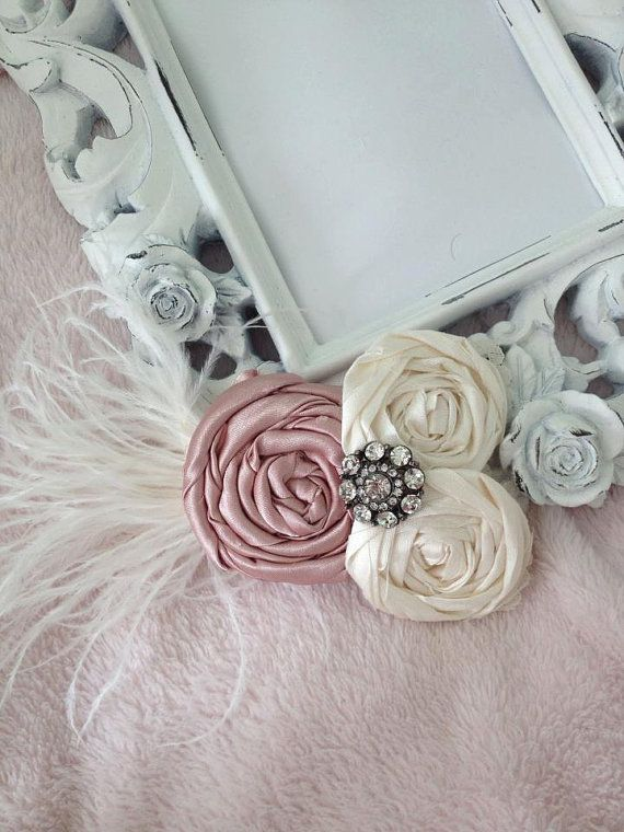 PORTA RETRATOS ...Vintage-inspired headband...baby girl..newborn..headband..Vintage Luxe Cream silk headband