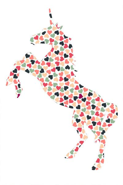 Multi Heart Unicorn Art Print