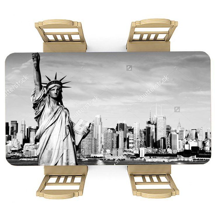 Tafelsticker USA (zwart/wit)   Maak je tafel persoonlijk met een fraaie sticker. De stickers zijn zowel mat als glanzend verkrijgbaar. Geschikt voor binnen EN buiten! #tafel #sticker #tafelsticker #uniek #persoonlijk #interieur #huisdecoratie #diy #persoonlijk #zwart #wit #zwartwit #bw #usa #amerika #new #york #newyork #big #apple #bigapple #vrijheidsbeeld #skyline