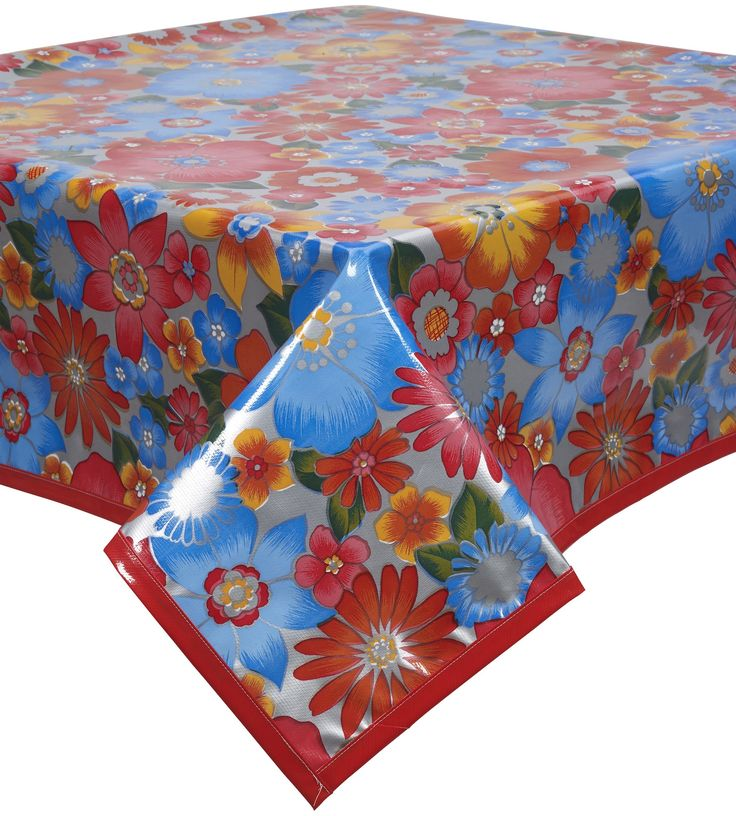Bettyu0027s Bunch Silver Oilcloth Tablecloth With Solid Red Trim