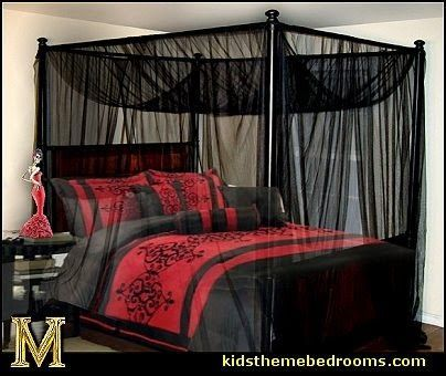 create a gorgeous gothic bedroom, fabrics, bed and other furniture, and keep it gothic.