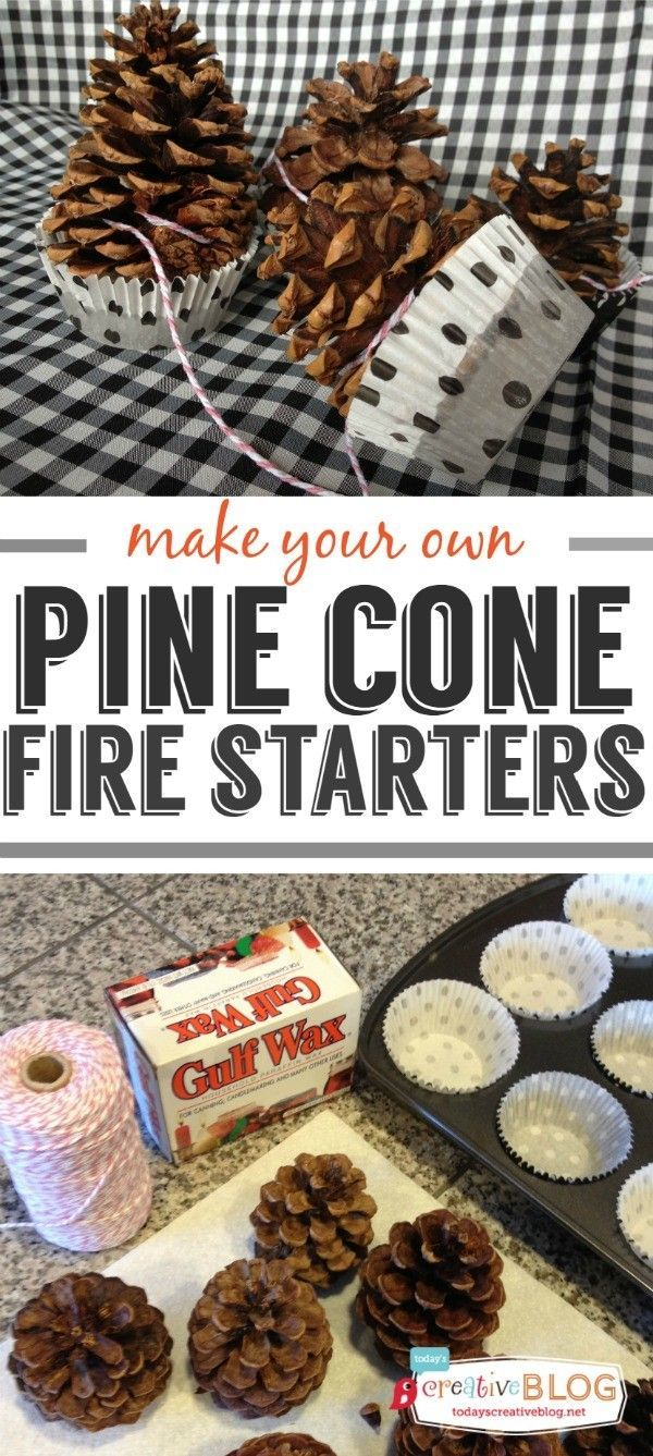 Pine Cone Fire Starters | Make your own fire starters with this easy tutorial. Great for fire pits and bonfires. Click the photo for the tutorial. TodaysCreativeLife.com