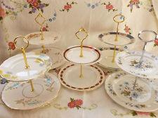 VINTAGE ENGLISH CHINA 2 TIER CAKE STANDS, Paragon, Salisbury, Tea/Wedding Party