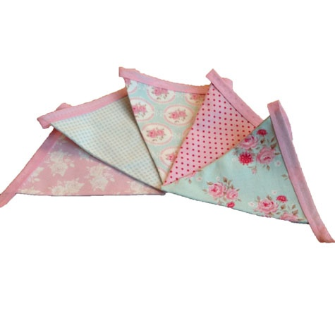 Beautiful Duck Egg Blue And Pink Fabric Bunting