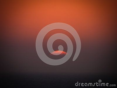 A view of a sunset over the Indian ocean off the South African coast.