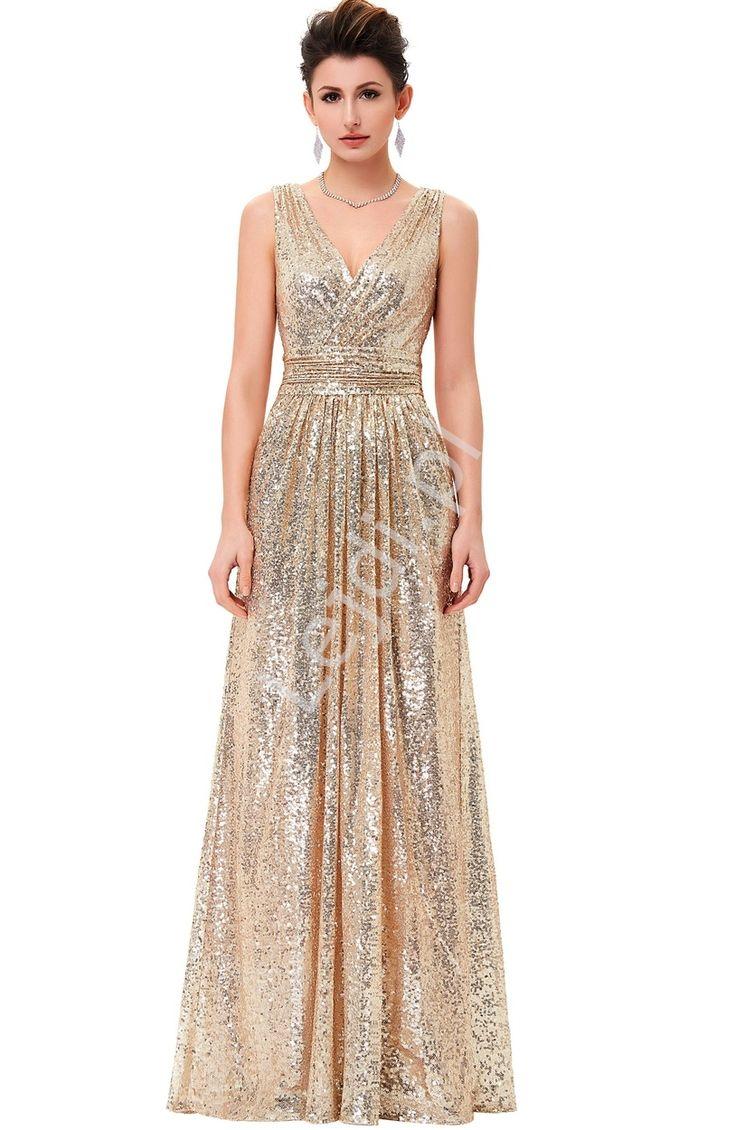 Wieczorowa długa złota sukienka z cekinów. Dekolt kopertowy. Suknia idealna na sylwestra jak również na karnawał. Z pewnościa swoim wyglądem zachwyci nie jedną Panią. Sukienka cekinowa, cekinowa długa suknia, sukienka na sylwestra, Sequin dress, sequin long dress, dress for New Year's Eve, Prom Dress, Long dress