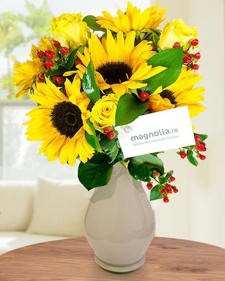 Buchet de vară cu floare-soarelui. Aduce soarele in orice zi!    Sunflower bouquet.