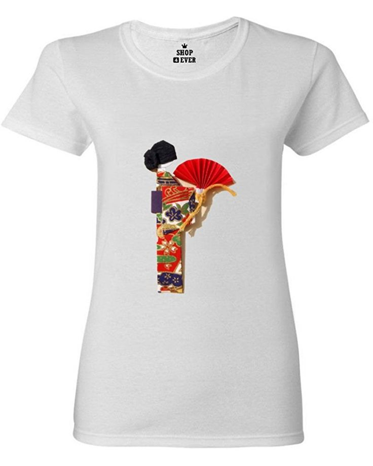FeelingSmart Geisha Painting Funny Graphic Short Sleeve women T-shirt Size M
