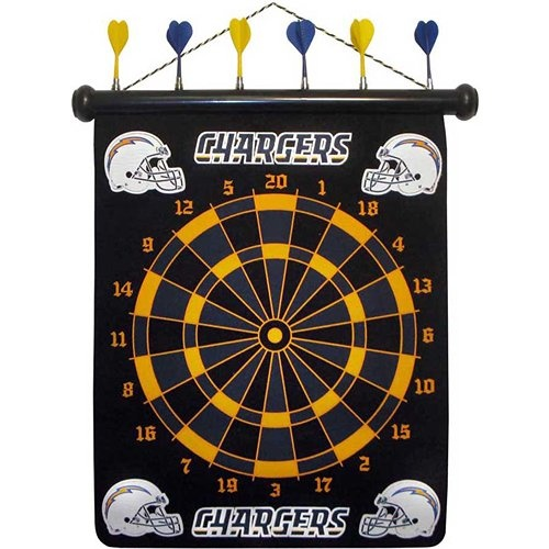 These magnetic dart boards offer all the fun and playability of regular darts with none of the damage to the wall surrounding the dart board! The game includes a magnetic hanging gameboard and 6 magnetic darts (3 of each 2 colors).  $29.99  http://www.calendars.com/San-Diego-Chargers/San-Diego-Chargers-Magnetic-Darts/prod1289080/?categoryId=cat00506=cat00506#