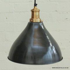 Brooklyn Vintage Metal Cone Lamp Shade - Dark Grey Pewter - 12 inch