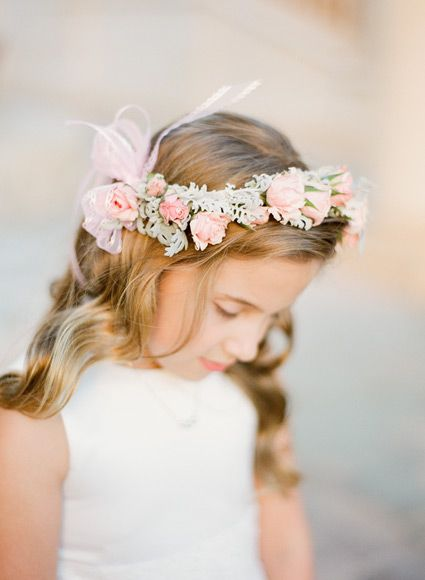 Floral flower girl crown | photography by https://www.ktmerry.com/