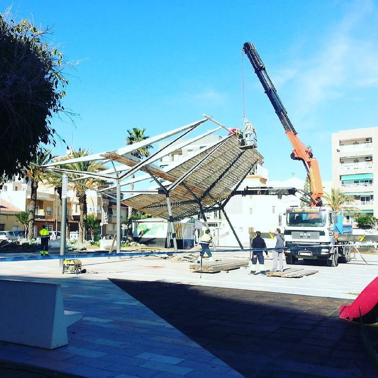 #LaMata canopy being worked on today. #torrelamata #torrevieja #spain