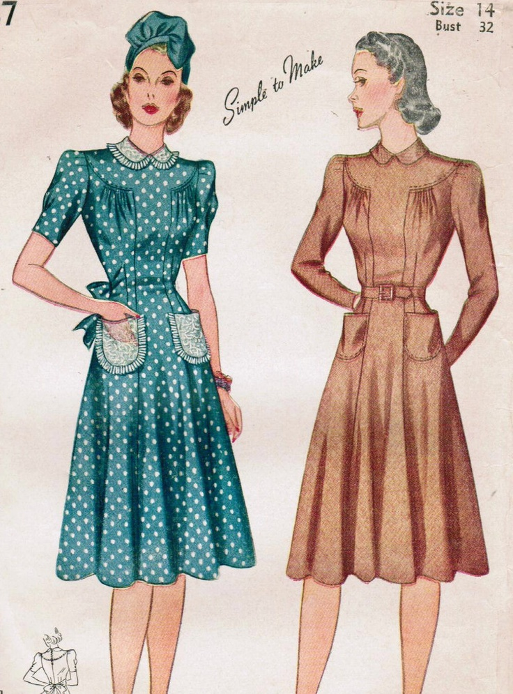 Totally liking the one on the left - especially the cute pockets (Simplicity 3387).