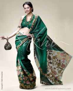 Green & Multi Colour Kanchivaram Silk Saree
