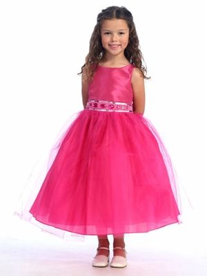 Fuchsia Flower Girl Dress - Sleeveless Bodice w/ Adorned Waistline