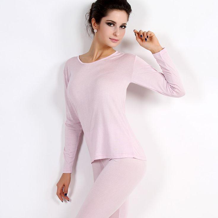 Otoño de seda de seda femenina ropa kuanqiu underwear térmica establece ultrafino calzoncillos largos traje de entrenamiento