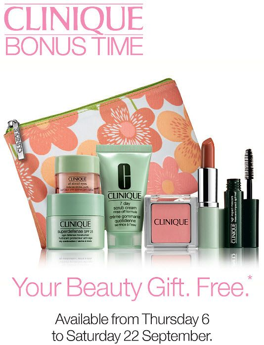 CLINIQUE GIFT WITH PURCHASE | Clinique Bonus Time at Elys Wimbledon 2012 | Save2Buy