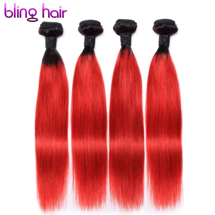 Bling Peruvian straight remy human hair Color 1B- RED Pre-Colored hair weaving 4 Bundles 12-24 inch For Salon Hair Extensions