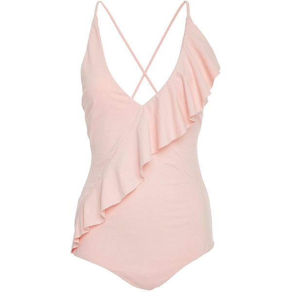 Marysia Swim Palisades Ruffle Maillot (9.910 UYU) ❤ liked on Polyvore featuring swimwear, one-piece swimsuits, swimsuits, bikini, swim, bathing suits, pink, pink bathing suits, ruffle swimsuit and bikini one piece swimsuit