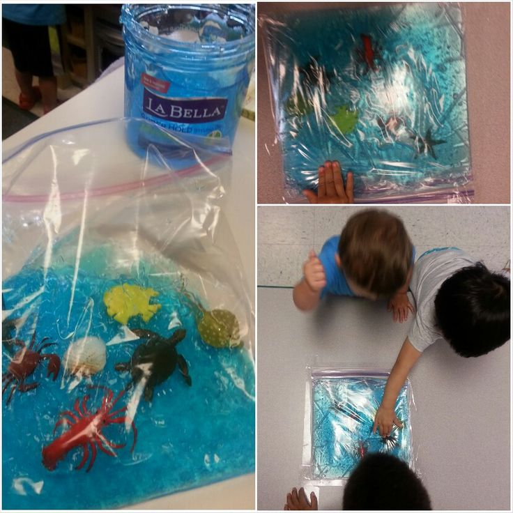 Preschool under the sea Ocean in a bag or sensory bag  blue hair gel large ziplock freezer bags (double the bags) sea creatures and tape down to a table kids love it
