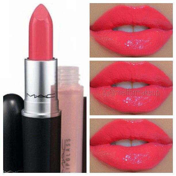 MAC Watch me simmer lipstick & Oyser Girl Lipglass. Just gorgeous, especially with tan skin or on a lady with porcelain skin and black hair. Just make sure your teeth are white because this color would enhance yellow undertones in teeth.