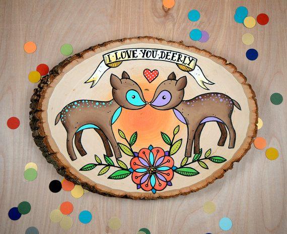 i love you dearly / original deer painting on wood slice by jesiiii