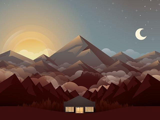 Mountains by @nickslaterdesign #gfxmob #graphics #illustration #design #grahpicsdesign #mountains