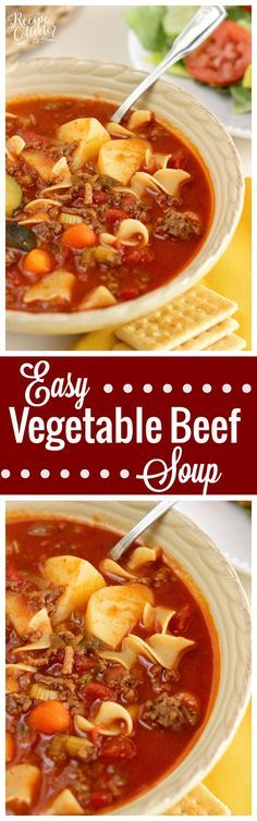 Easy Vegetable Beef Soup - A hearty comforting classic meal with ground beef that is easy to prepare.