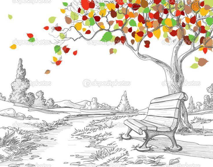 Arbre automne, chute des feuilles