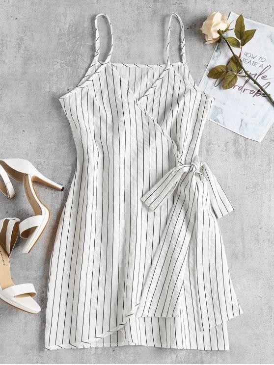 Mini Striped Wrap Slip Dress en 2018 | Vestidos | Pinterest ...