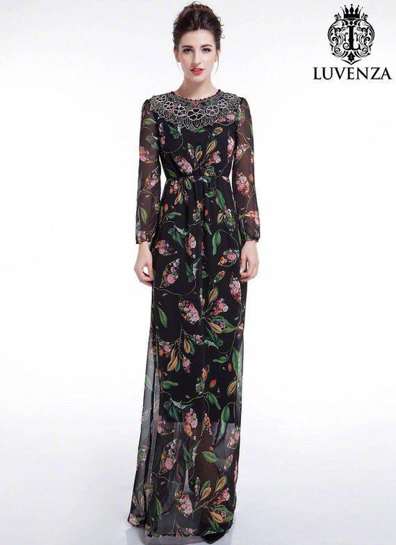 f8fa5eb60e Black Chiffon Colorful Bird Print Maxi Evening Dress Floor Length Floral  Prom Dress  Sheer Long Slee