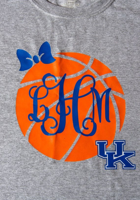Get ready for March Madness with this shirt that has large basketball design on front of shirt with bow, monogram and University of Kentucky