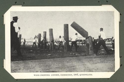 Cut clean through, wood chopping competition at the Exhibition, 1907
