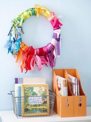 Ribbon Wreath: Crafts Rooms, Diy Crafts, Ribbons Wreaths, Ribbons Crafts, Wreaths Storage, Ribbons Organizations, Scrapbook Storage, Storage Ideas, Crafts Ribbons Storage