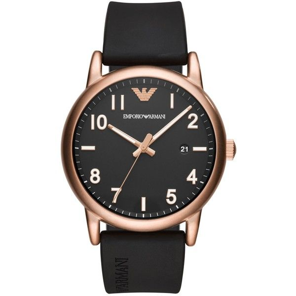 Emporio Armani Men's Black Rubber Strap Watch 43mm ($195) ❤ liked on Polyvore featuring men's fashion, men's jewelry, men's watches, black, mens sport watch, matte black mens watches, mens stainless steel watches, emporio armani mens watches and mens watches jewelry