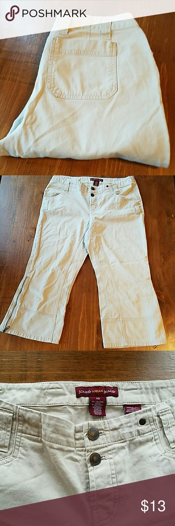 Jones New York Jones Wear Jeans Khaki Capris Jones New York Jones Wear Jeans Khaki Capris size 10, mid calf length, gently used in good condition. Please message me if you have any questions! Jones New York Jeans Ankle & Cropped