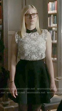 Alice's white lace top with black collar on The Magicians.  Outfit Details: https://wornontv.net/65220/ #TheMagicians