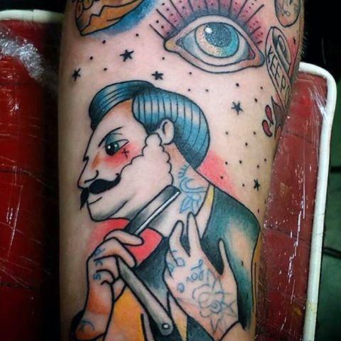 Barber Shaving With Straight Razor Mens Tattoo