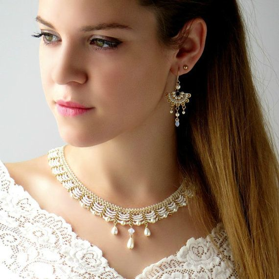Wedding necklace set Bridal necklace and earring by LioraBJewelry
