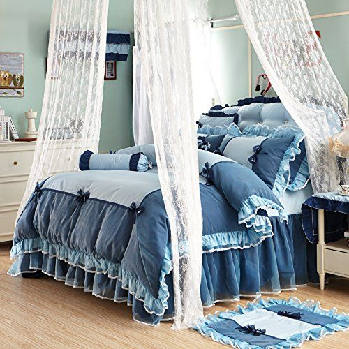 Sisbay Blue French Girls Bed Set Twin,Princess Falbala Bownot Duvet Cover,Fancy Mediterranean Bed Skirt Pillows,6pcs //Price: $87.04 & FREE Shipping //     #bedding sets