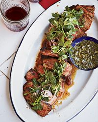 Coffee-Rubbed Strip Steaks with Chimichurri Sauce Recipe on Food & Wine.  The rub sounds like The Capital Grill's Kona Crusted Sirloin.  :)))  My favorite steak in the WORLD!!