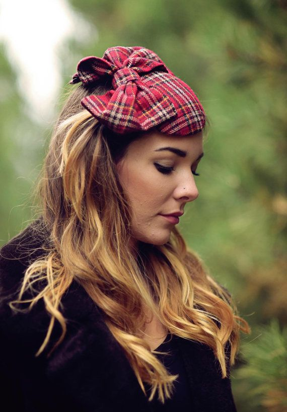 Red+Fascinator+Hat+Plaid+Wedding+Hat+Race+Hat+by+RubyandCordelias