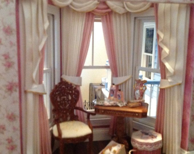 1:12 escala cortinas de casa de muñecas - ventana de Bahía