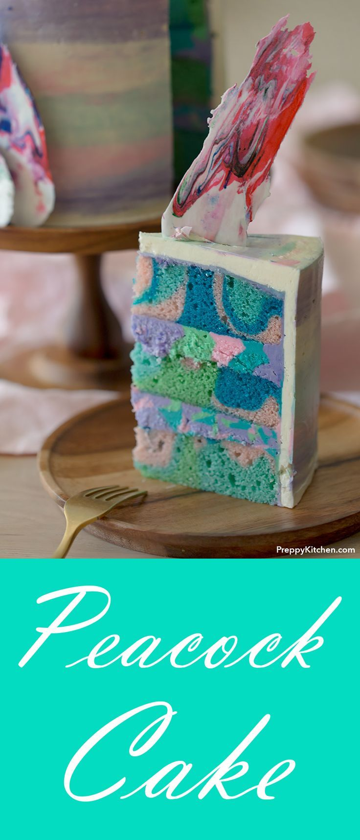 Peacock Cake is an eyecatching birthday cake or a wedding cake. The peacock feathers are easy to make using candy melts. | Holiday desserts, birthday baking, easy baking, beautiful cakes, cake design, how to design cakes