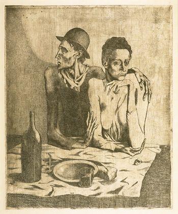 La comida frugal Pablo Picasso (Málaga, 1881—Mougins, 1973) concedió siempre una enorme importancia al grabado: desde 1899 hasta 1972 realizó más de dos mil, que constituyen casi un diario de su vida de artista. En este gabinete se exhiben, de forma rotatoria, los fondos de la obra gráfica de Picasso pertenecientes a la colección en depósito en el Museu Fundación Juan March. Se presenta una selección de grabados iniciales de Pablo Picasso, entre ellos el conocido aguafuerte Le repas frugal…