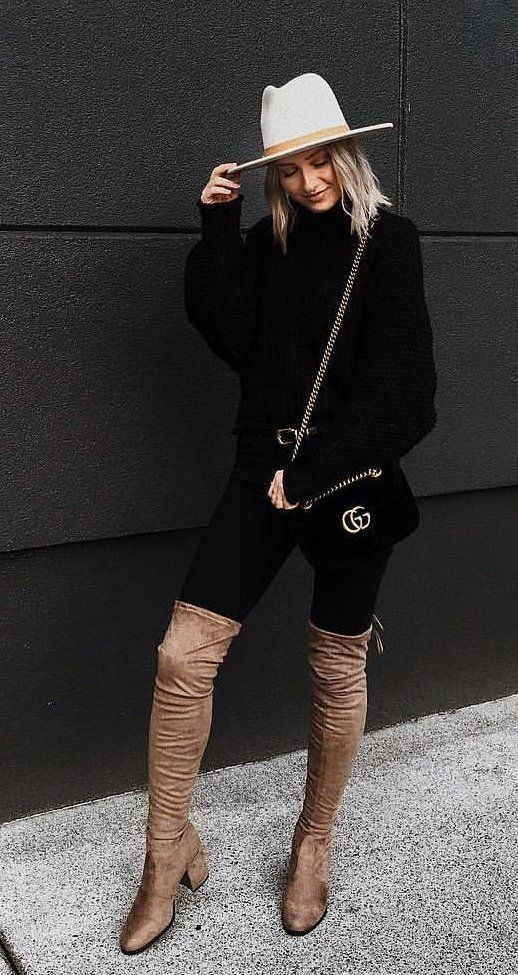 women's white sweater and black pants outfit