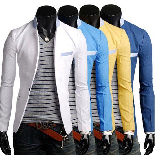 veste homme lin blazer fashion jacket men suit slim fit. Black Bedroom Furniture Sets. Home Design Ideas